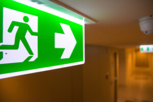 Fire security advice on emergency exit lighting